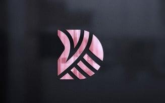 3d Glass Wall Logo Mockup