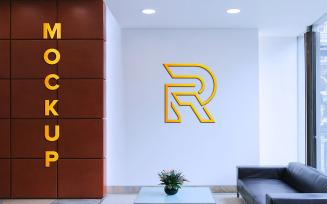 Golden Logo Mockup on Company Wall