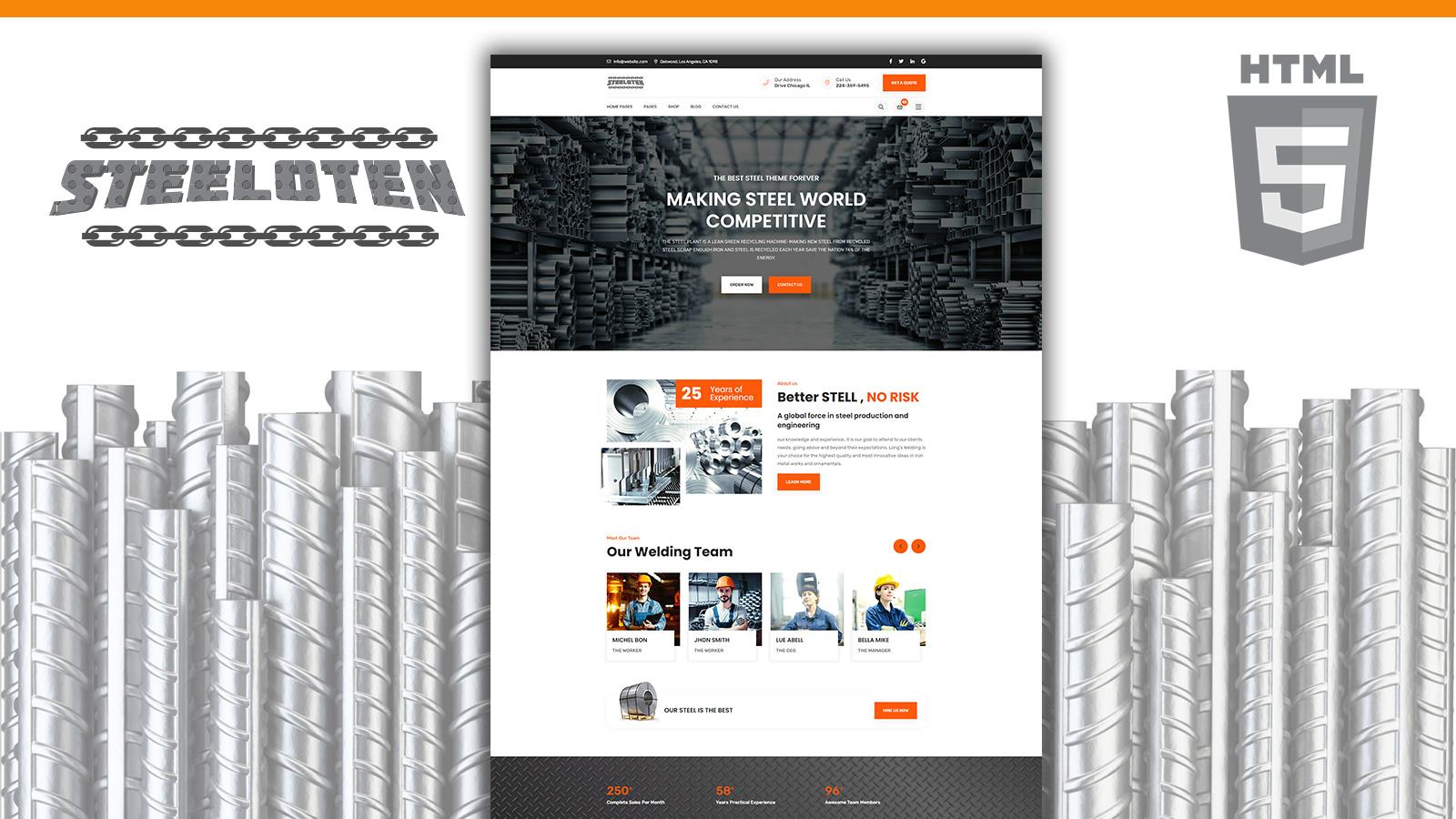 Modelo de site HTML5 para loja de serviços de aço e metalurgia da Steeloten