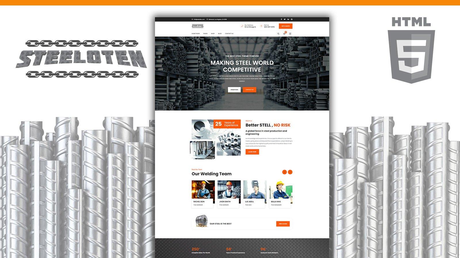 Steeloten Steel Services and Metal Works Shop HTML5 webbplatsmall