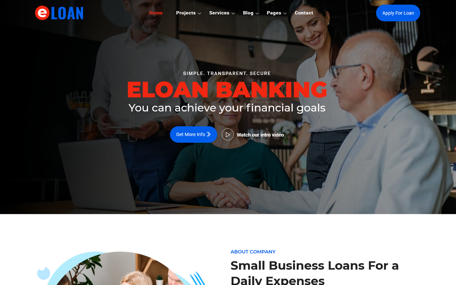 eLoan - Banking, Loan and Insurance Website Template