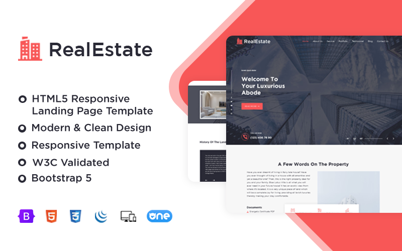 RealEstate - Responsive Landing Page Template
