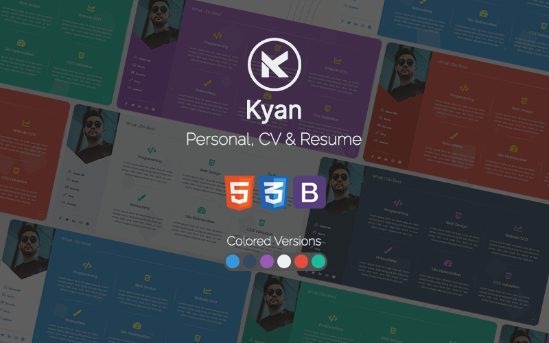 Kyan - Personal, CV and Resume Bootstrap HTML Website Template