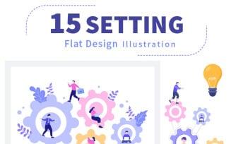 15 Setting Flat Design Illustration