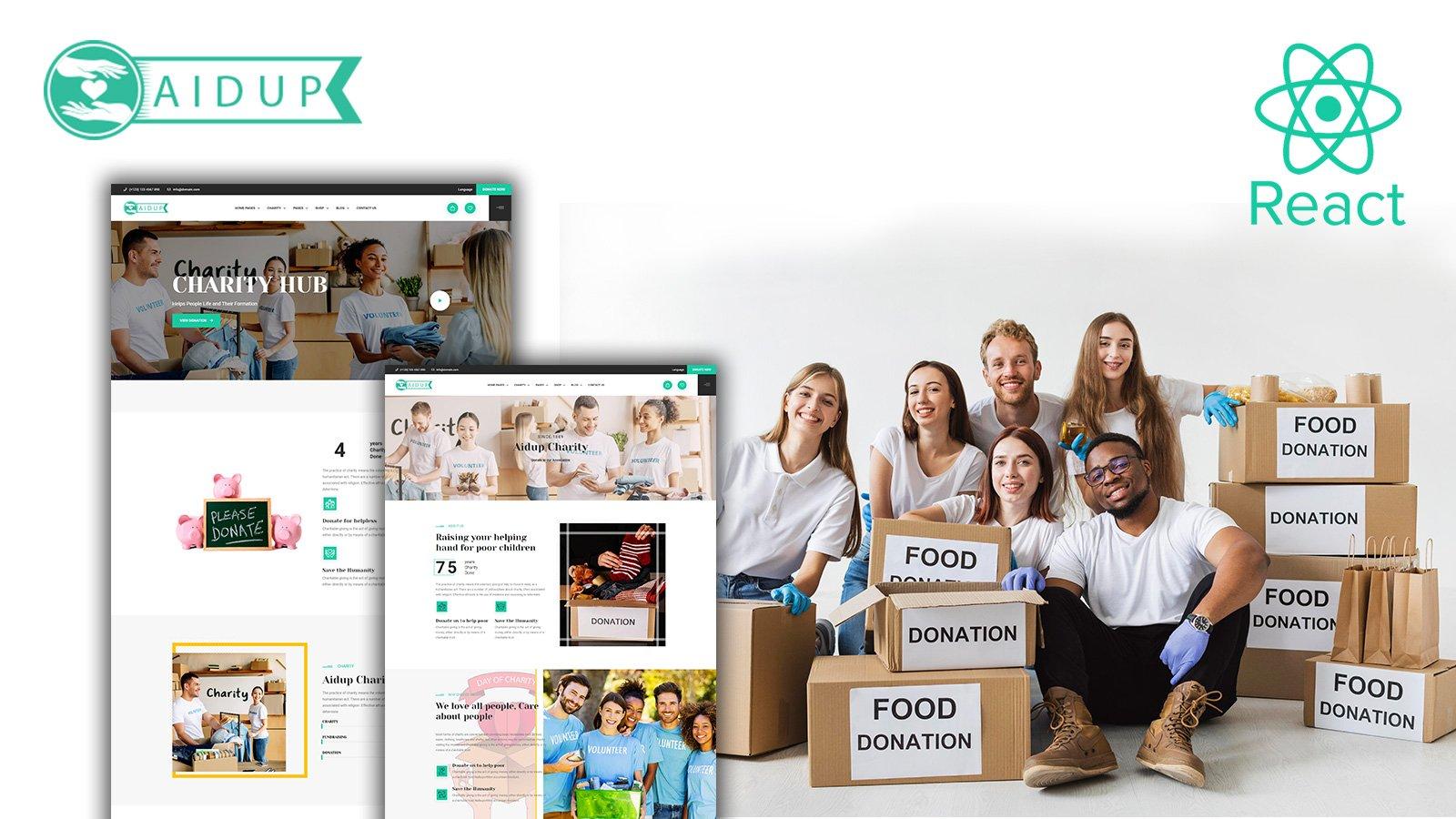 Aidup - Charity React webbplats mall