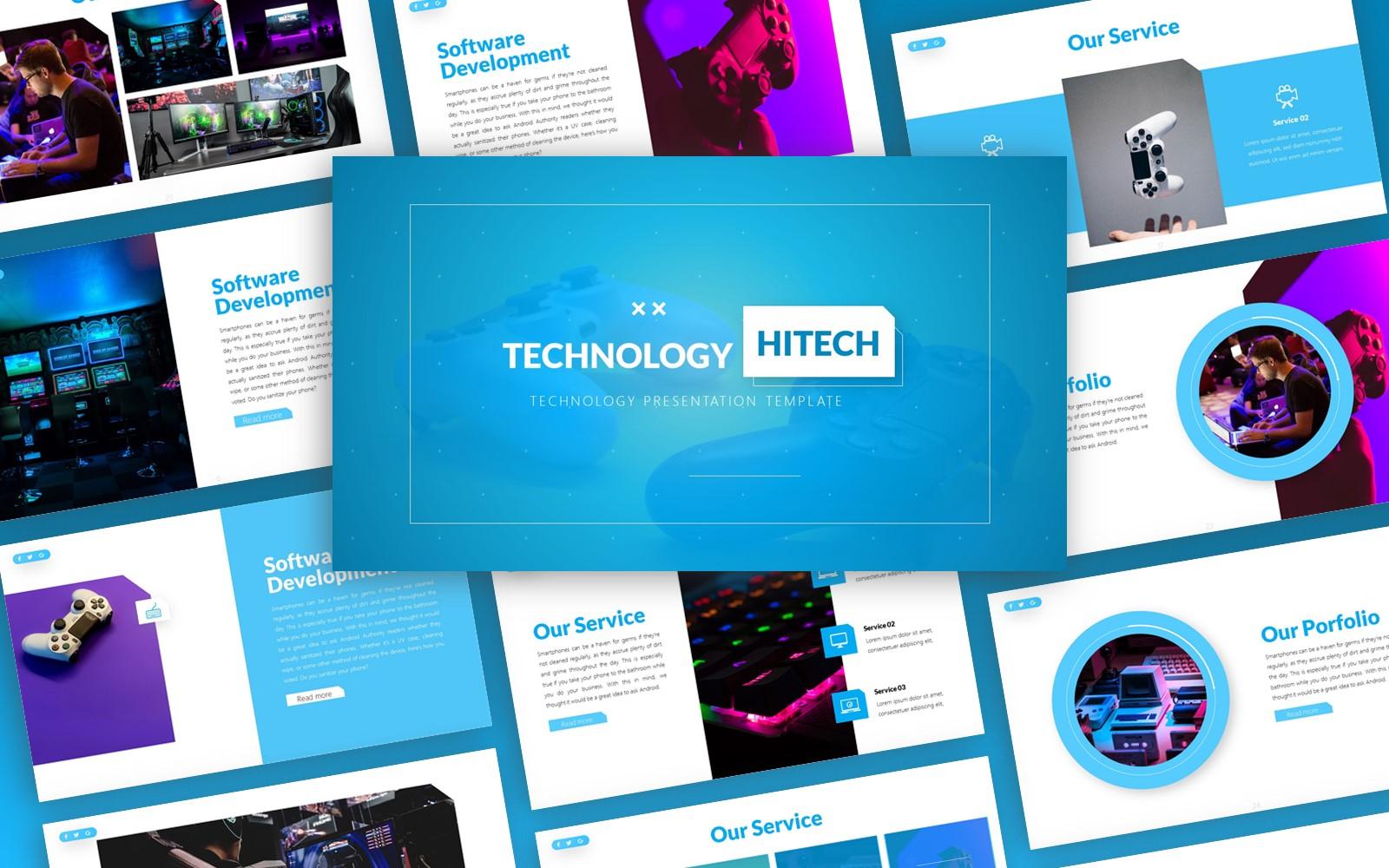 Hitech - Technologie Multifunctionele Sjablonen PowerPoint presentatie
