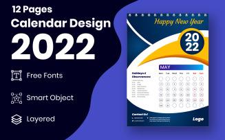Stylish 2022 New Year Calendar Design Template Vector
