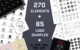 270 Ultra Big Logo Creator Elements and 85 Sample Logos