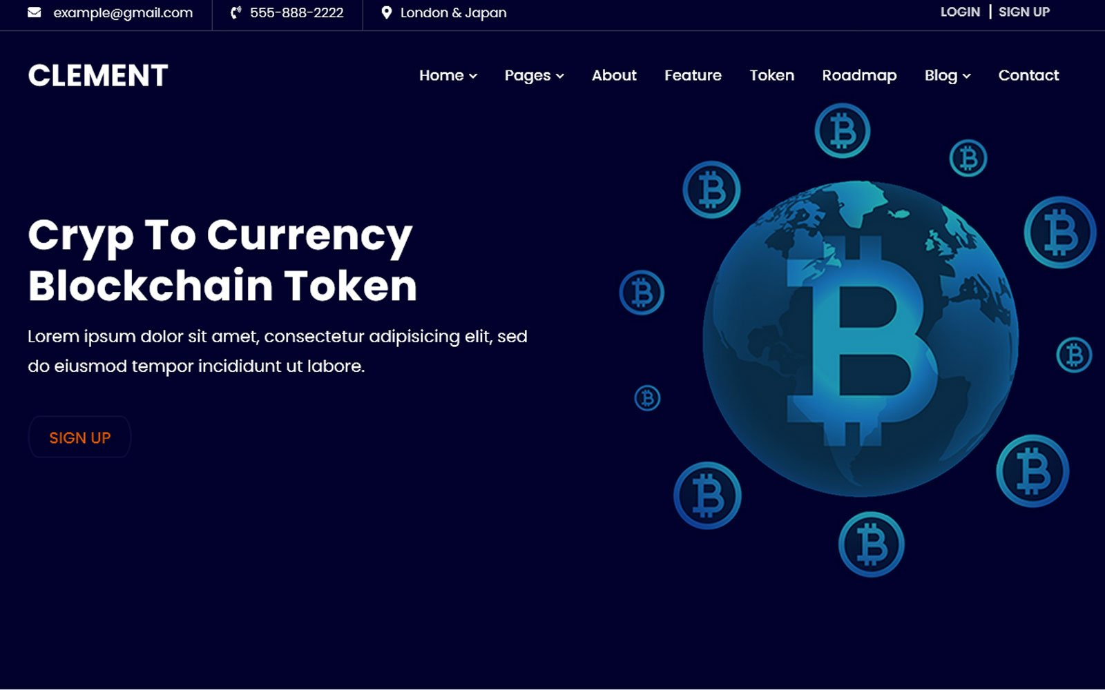 Clement -ICO Bitcoin & Cryptocurrency webbplats mall