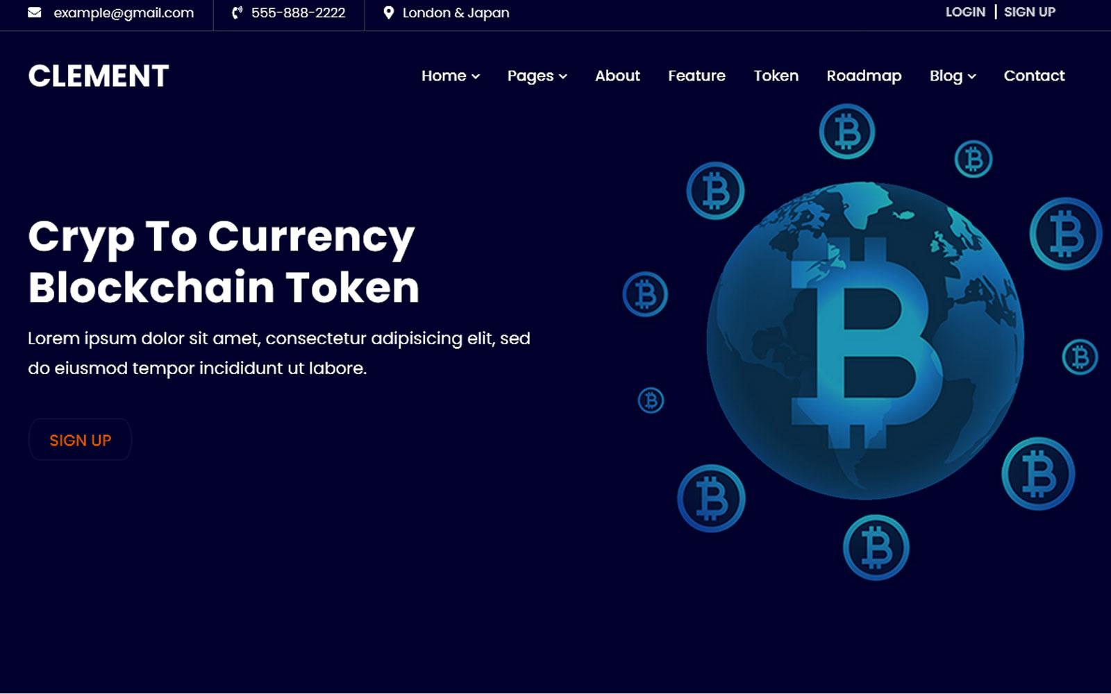 Clement -ICO Bitcoin e modelo de site de criptomoeda