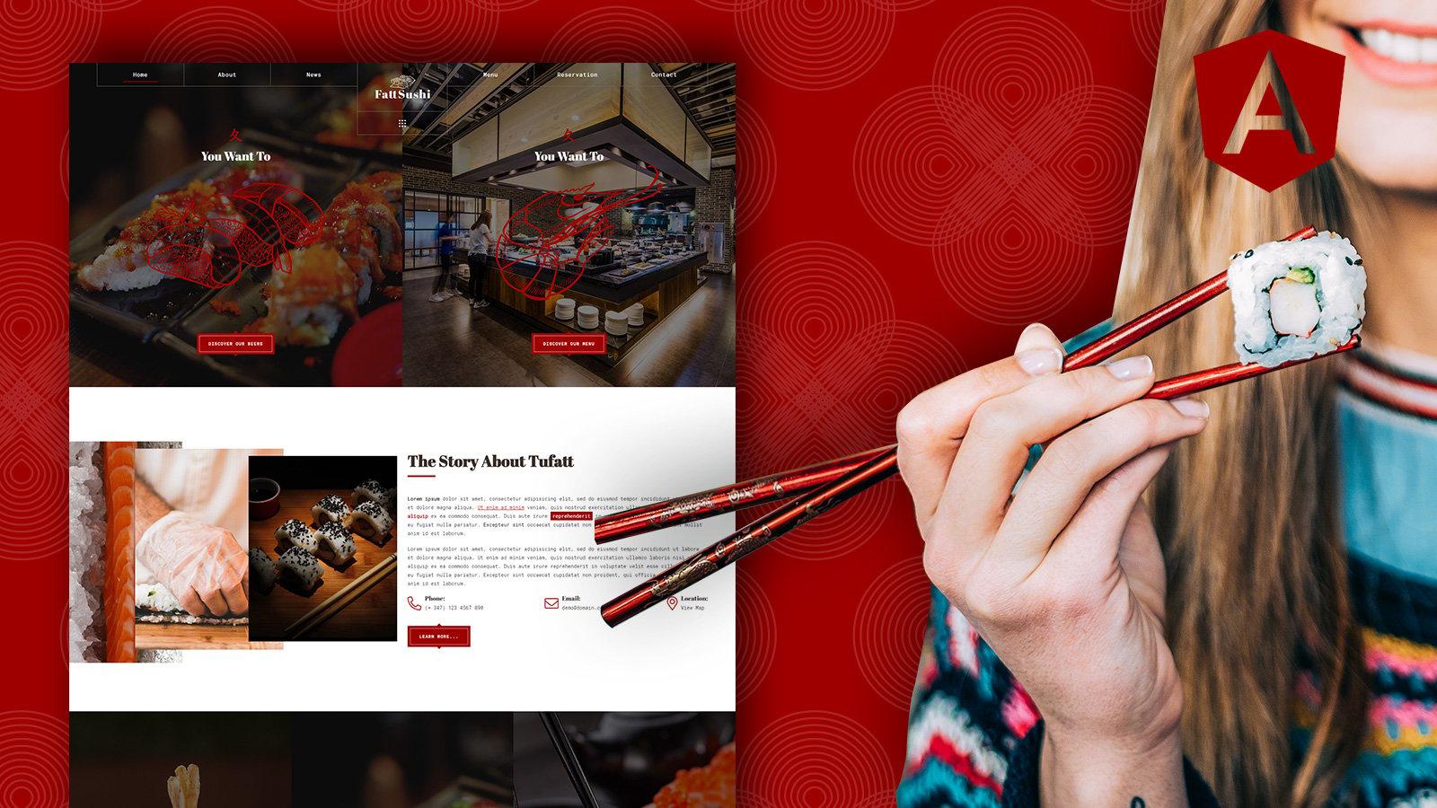 Fattsushi – 日本寿司餐厅 Angular JS 模板