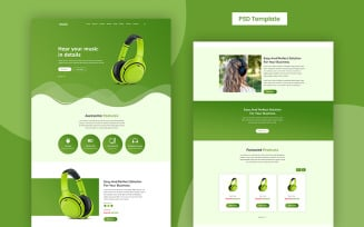Music - Free Headphone Product Page PSD Template
