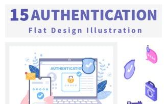 15 Authentication Security Flat Illustration