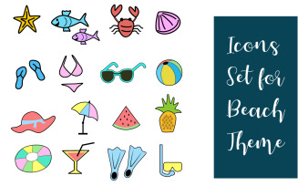Beach Items Set Icons Template
