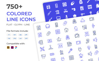 750+ Bundle of colored vector line icons
