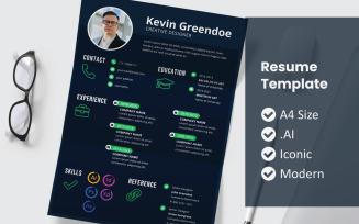 Kevin Vol 24 Printable Resume Template