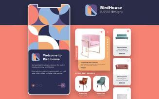 Mobile Shopping Application PSD Template e-commerce UI design - BirdHouse
