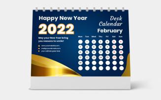 Golden Stationery Desk Calendar 2022 Template