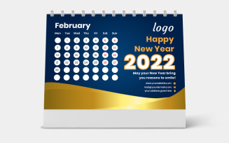Golden Vector Design Desk Calendar 2022 Template