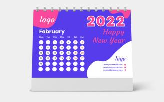 Purple Desk Calendar 2022 Template Vector