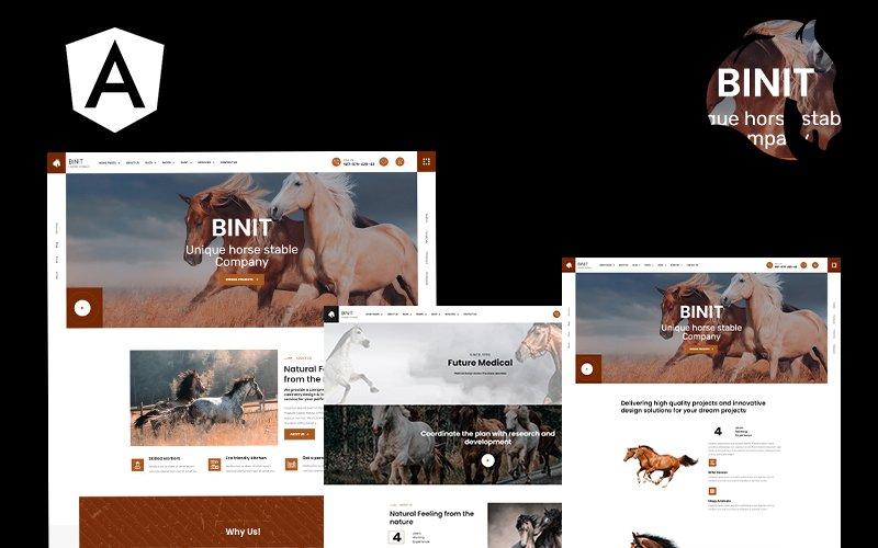 Binit hästar och stall kantiga webbplats mall