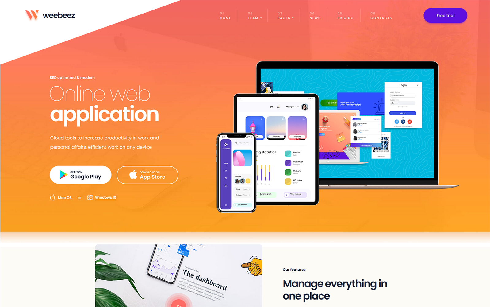 Weebeez - Web Application WordPress Theme