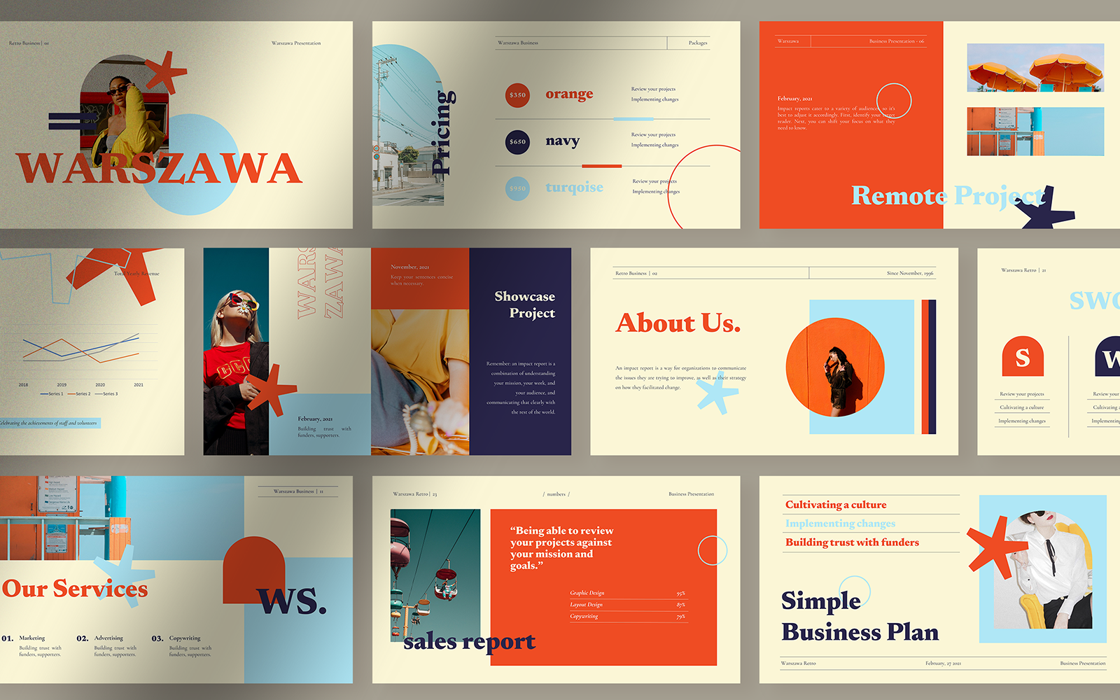 Warszawa Retro Business Presentation PowerPoint Template