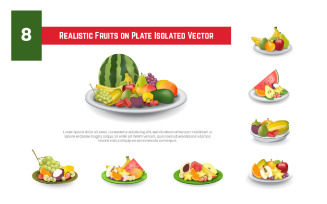 8 Realistic Fruits on Plate Isolated Vector Illustration