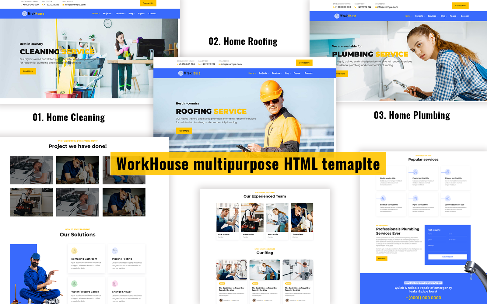 Workhouse - Plumbing, Cleaning and Roofing HTML Template