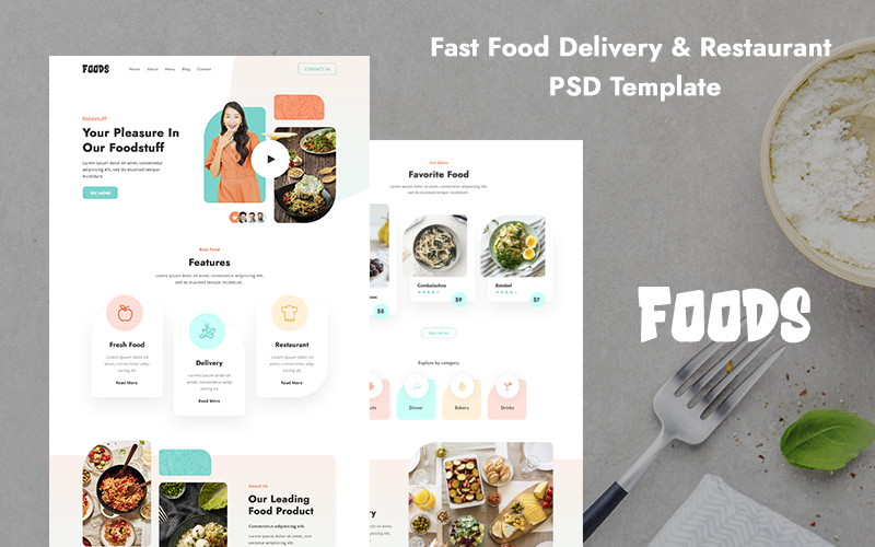 Fast Food Delivery Restaurant PSD-sjabloon