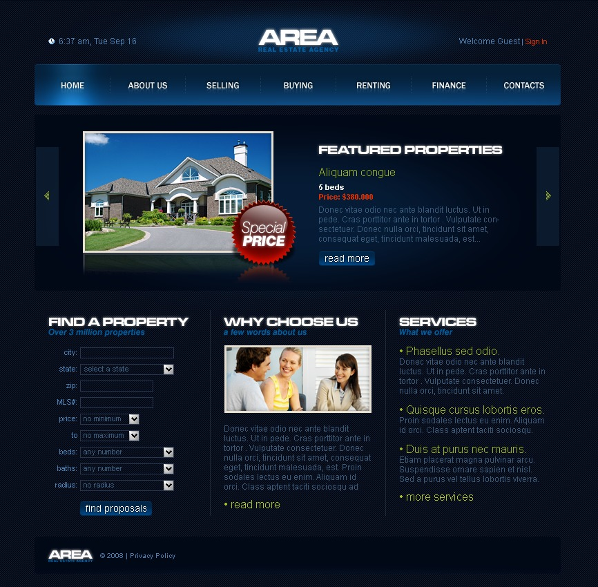 Plantilla web 18806 para sitio de agencia inmobiliaria for Agencia inmobiliaria