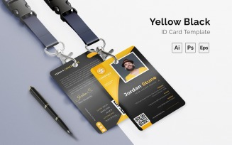 Black Yellow Id Card Print Template