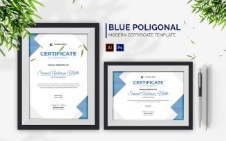 Blue Shades Poligonal Certificate