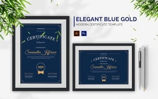 Elegant Blue Gold Certificate