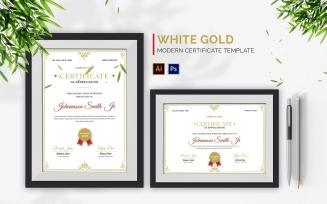 White Gold Elegant Certificate