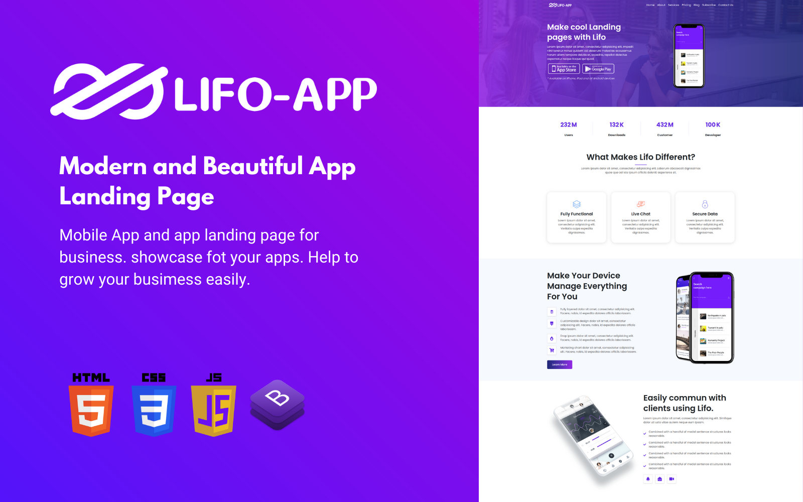 Lifo App - App Landing Page HTML5 Template