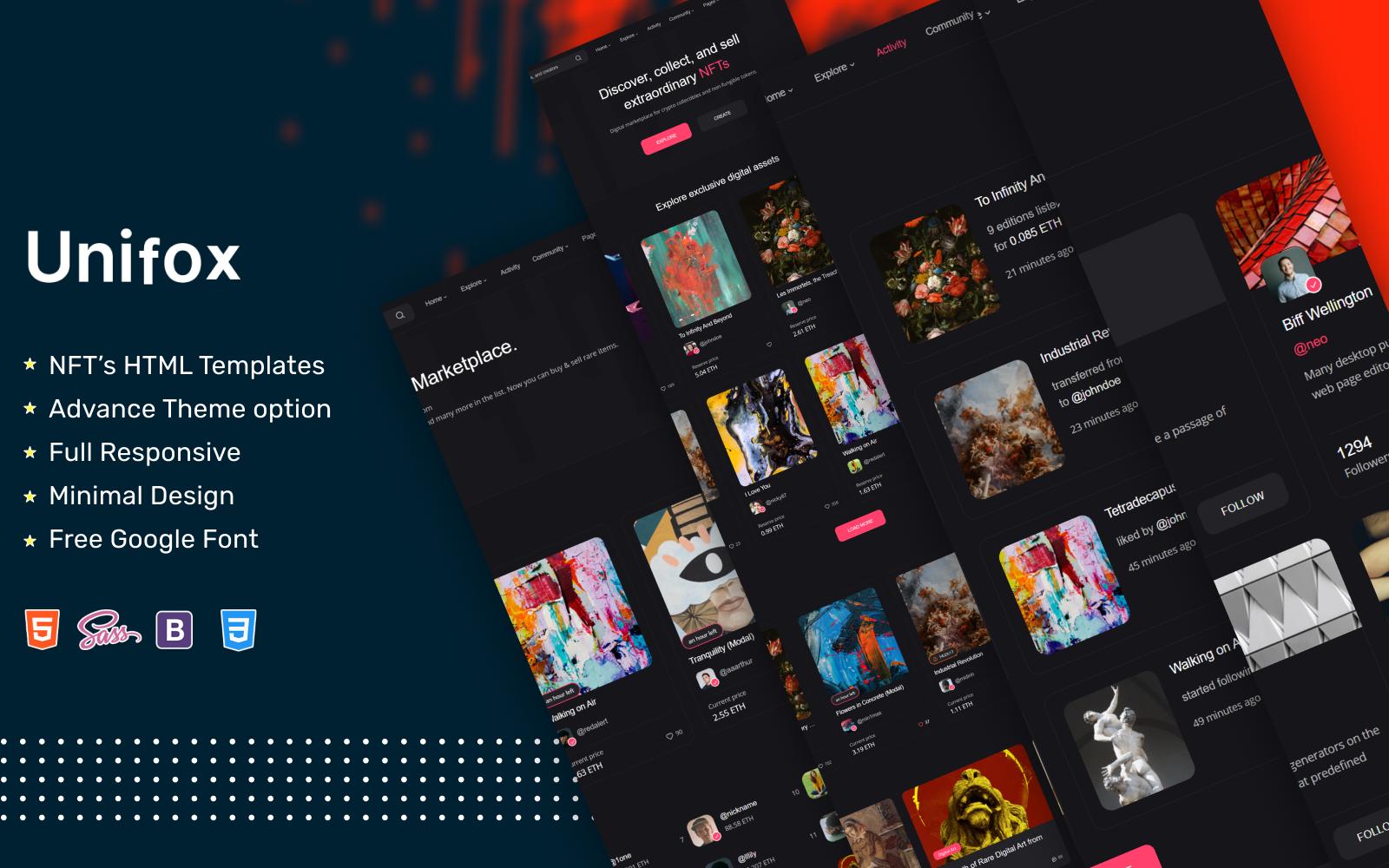 Unifox - NFT Marketplace Website template