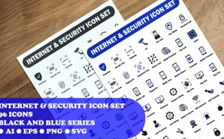 Internet And Security Icon Set template