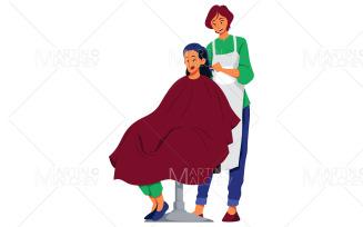 Hairdresser Female on White Vector Illustration