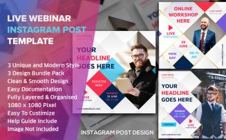 Live Streaming Social Media Post Design Template Bundle Pack