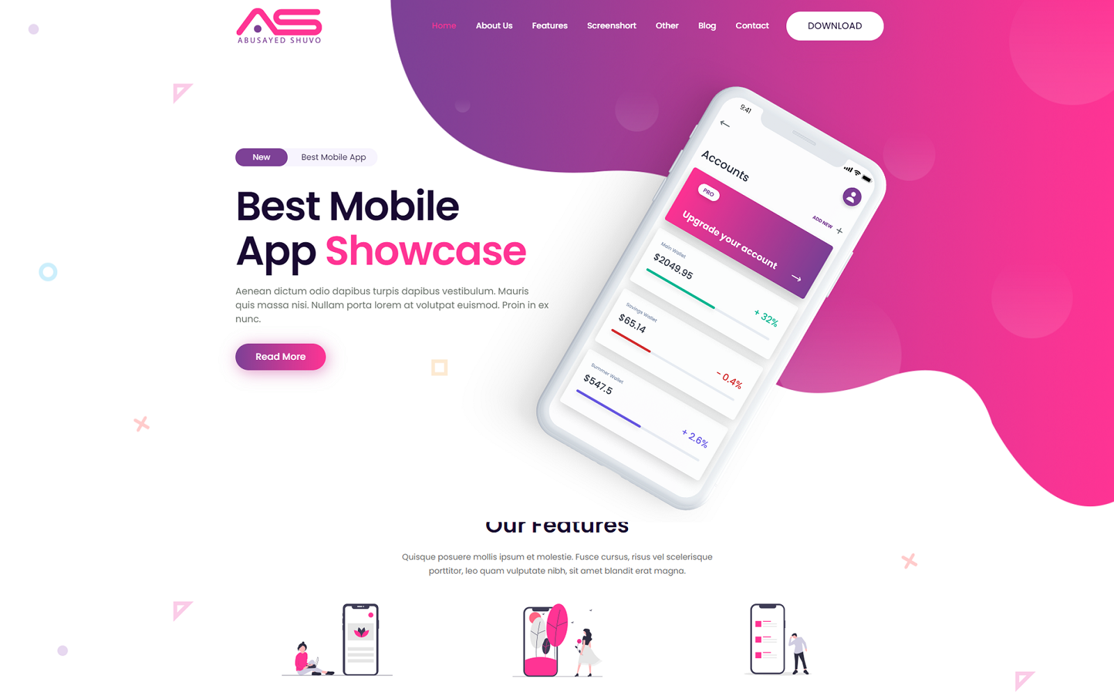 Abusayed - Mobile App Landing Page html Template