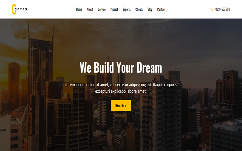 Contas - One Page Construction HTML Template