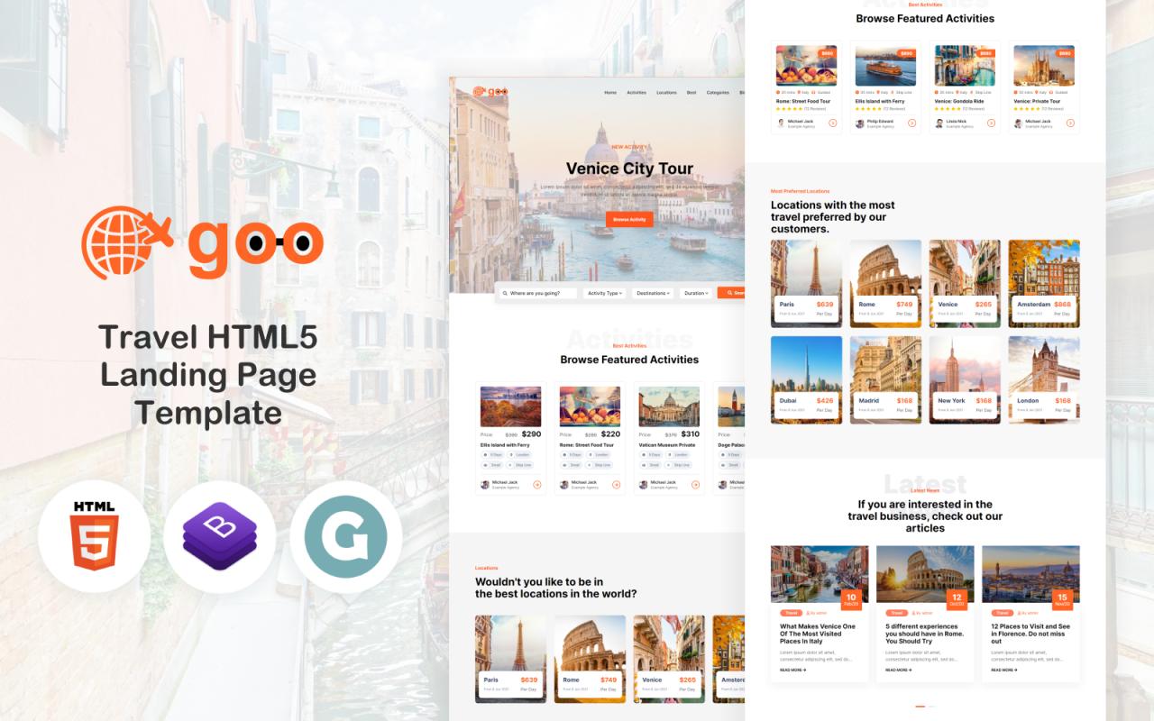 Goo Travel - Travel HTML5 Landing Page Template
