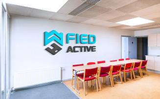 Logo Mockup 3D Sign Office Wall Meeting Room Presentation