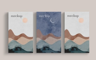 Painting Canvas Three Vertical Frame Mockup Template