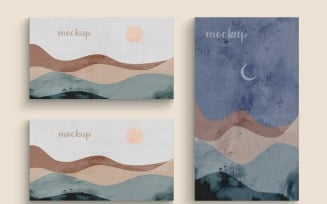 Painting Canvas Two Horizontal With Vertical Frame Mockup Template