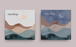 Painting Canvas Two Square Frame Mockup Template