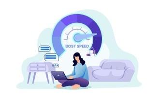 Internet Boost Speed Vector Illustration Concept