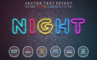 Night - Editable Text Effect, Font Style, Graphics Illustration