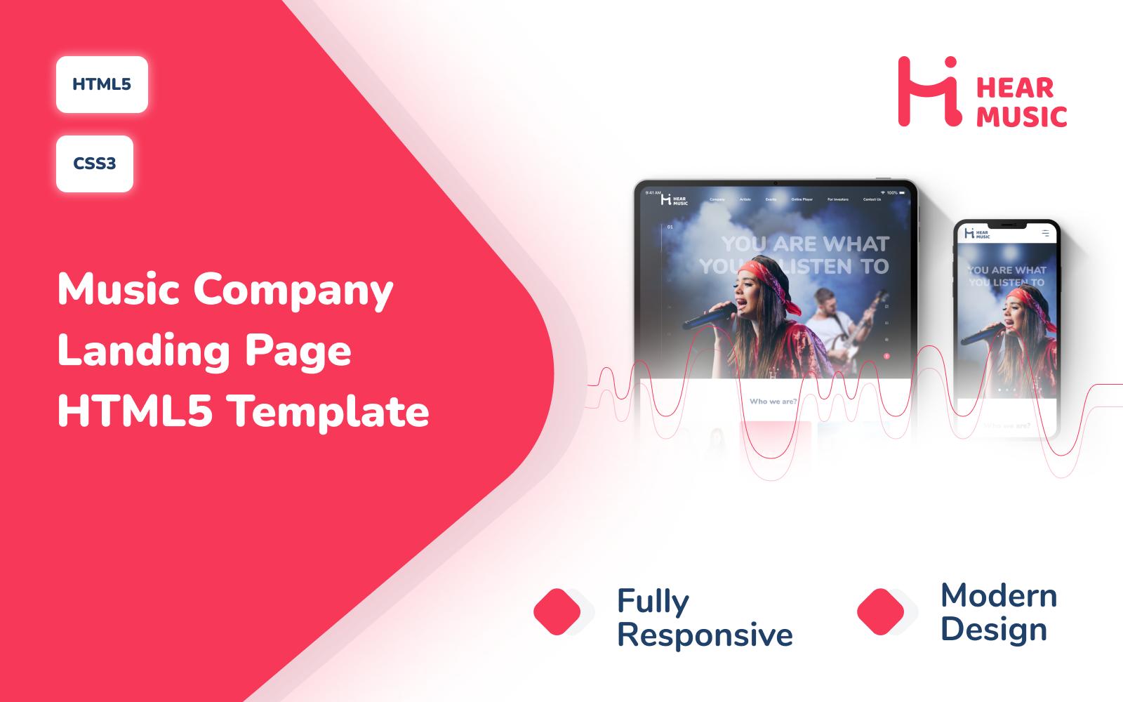 Hear Music – Music Company Responsive Modern Landing Page HTML5 Template